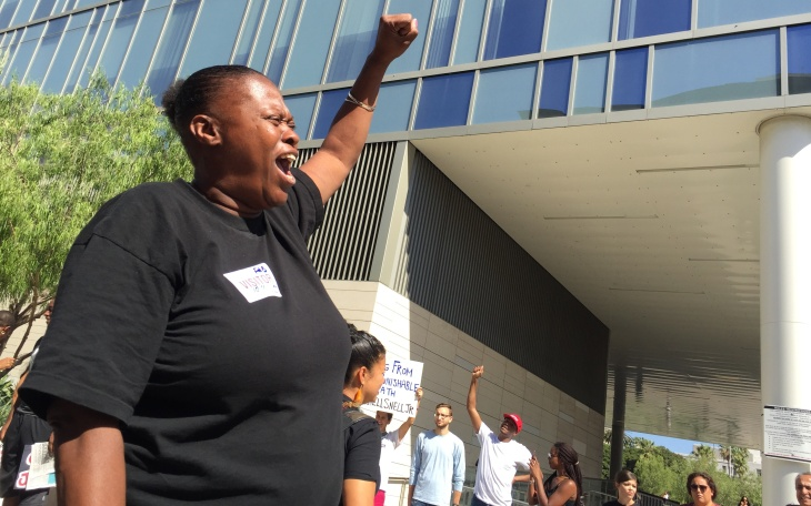 Lisa Simpson is the mother of Richard Risher, 18, who was fatally shot by LAPD officers in Watts this summer after allegedly pointing a gun at them. She protested outside Los Angeles Police Headquarters in downtown L.A. on October 4, 2016.