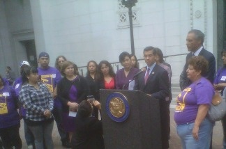 Rep. Xavier Becerra joins other lawmakers at a news conference at City Hall in downtown Los Angeles on June 10, 2011. Southland Congress members say the federal deportation program Secure Communities is unfair to hard-working, law-abiding immigrants.