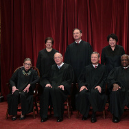 Front row from left, U.S. Supreme Court Associate Justice Ruth Bader Ginsburg, Associate Justice Anthony M. Kennedy, Chief Justice John G. Roberts, Associate Justice Clarence Thomas, and Associate Justice Stephen Breyer. Back row from left, Associate Justice Elena Kagan, Associate Justice Samuel Alito Jr., Associate Justice Sonia Sotomayor, and Associate Justice Neil Gorsuch.