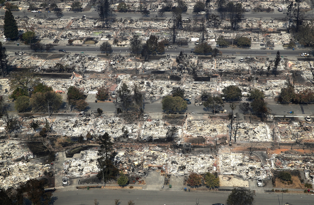 A view of hundreds of homes in the Coffey Park neighborhood of Santa Rosa, California. They were destroyed by the Tubbs Fire on October 11, 2017.