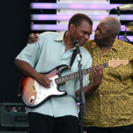 Musician B.B. King (R) hugs musician Robert Cray following his performance at the Crossroads Guitar Festival 2007 held at Toyota Park on July 28, 2007 in Bridgeview, Illinois.