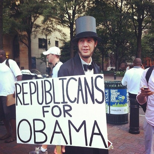 Photo of a protester outside the 2012 Democratic National Convention in Charlotte, N.C.