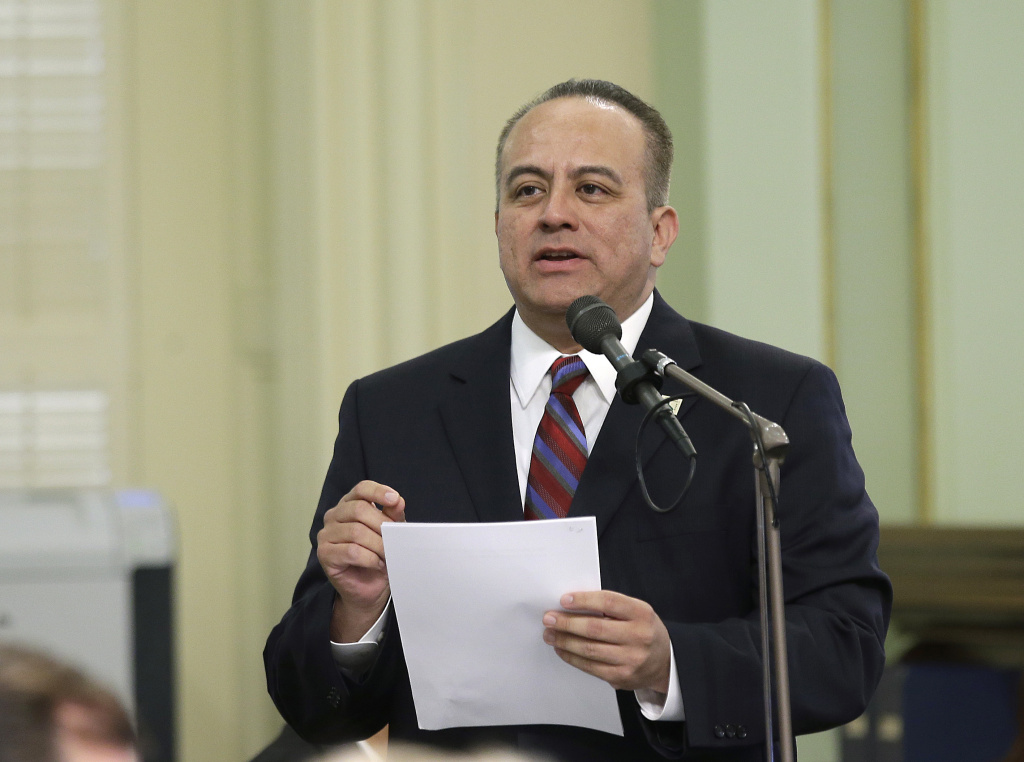 Assemblyman Raul Bocanegra, D-Pacoima, speaks at the Capitol, Thursday, May 4, 2017, in Sacramento, Calif. (AP Photo/Rich Pedroncelli)