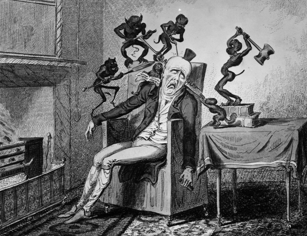 1819: A man suffering from a headache is tormented by a horde of little demons.  'Headache' by Cruikshank.