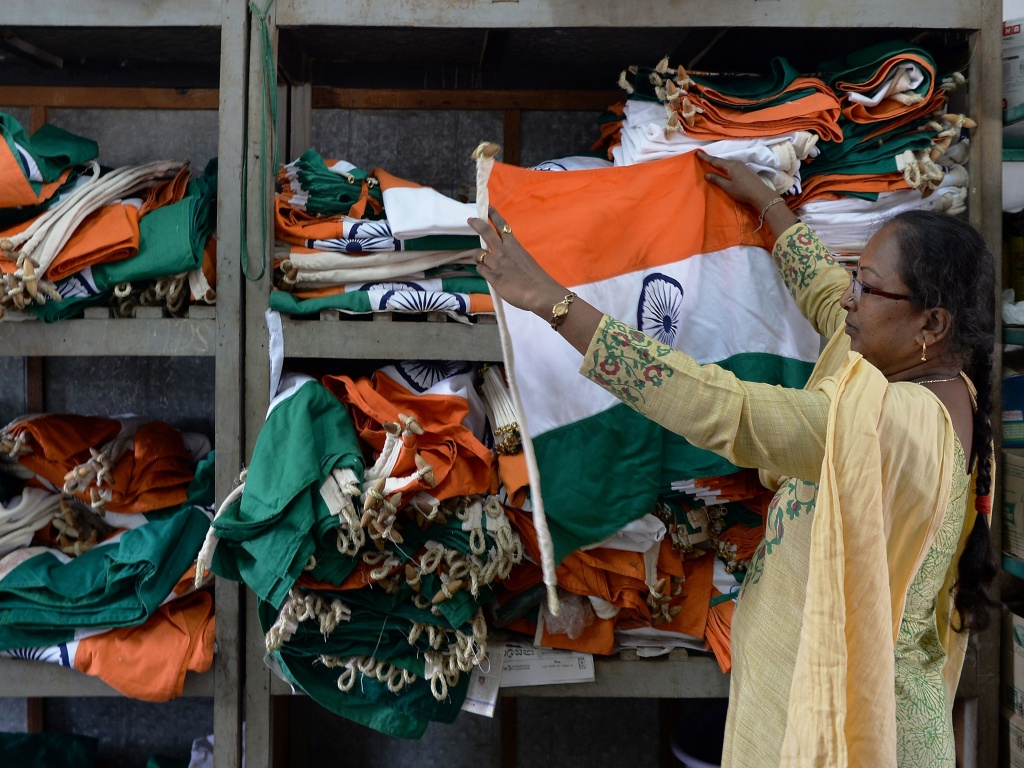 An employee checking flags at the Indian National Flag Production Center in the southern state of Karnataka.
