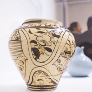 Jar (Ping) with Dragon and Clouds, China, Yuan dynasty, 1279–1368, Los Angeles County Museum of Art,  purchased with funds provided by Jack G. Kuhrts