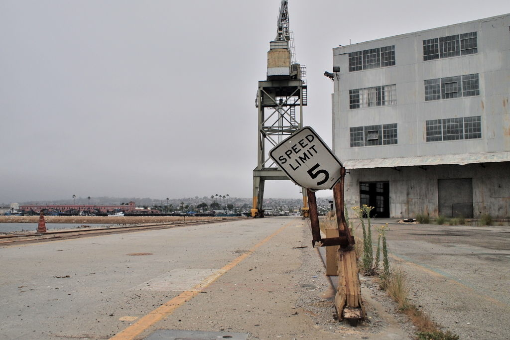 A dock and crane next to the abandoned Southwest Marine Shipyard on Terminal Island, California.