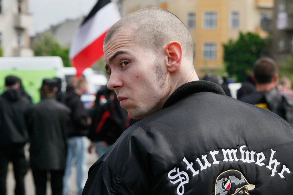 A skinhead takes part in a right-wing rally on May 1, 2010.