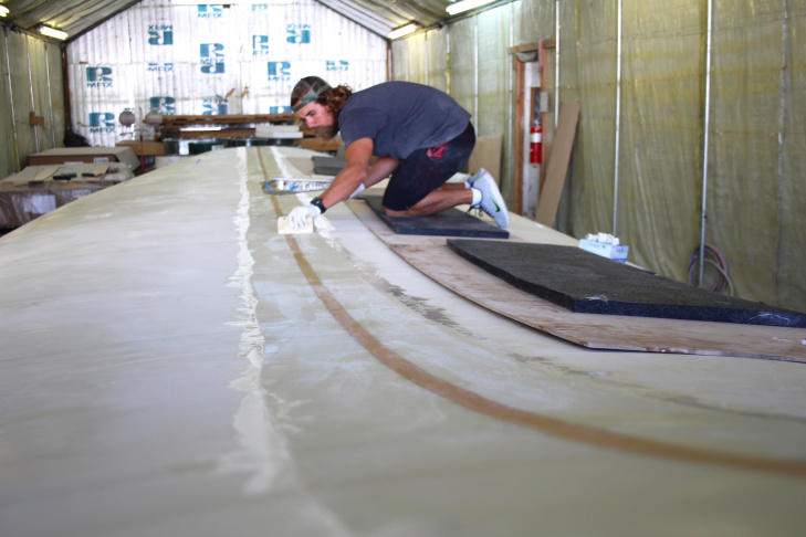 The 42-foot-long, 11-foot-wide surfboard will make an attempt to enter the Guinness World Records by being the biggest surfboard with the most riders onboard.