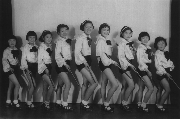 Members of Just Us Girls, a social club for Japanese-American girls, pose in Boyle Heights.