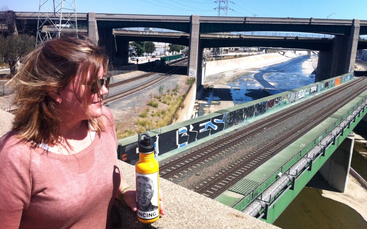 KPCC's environment reporter Molly Peterson surveys the gritty beauty of the LA River from the soon-to-be-demolished Figueroa Street Bridge.