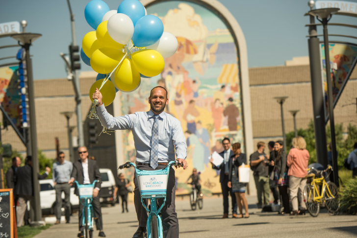 A photo from the unveiling of the Long Beach Bike Share program.