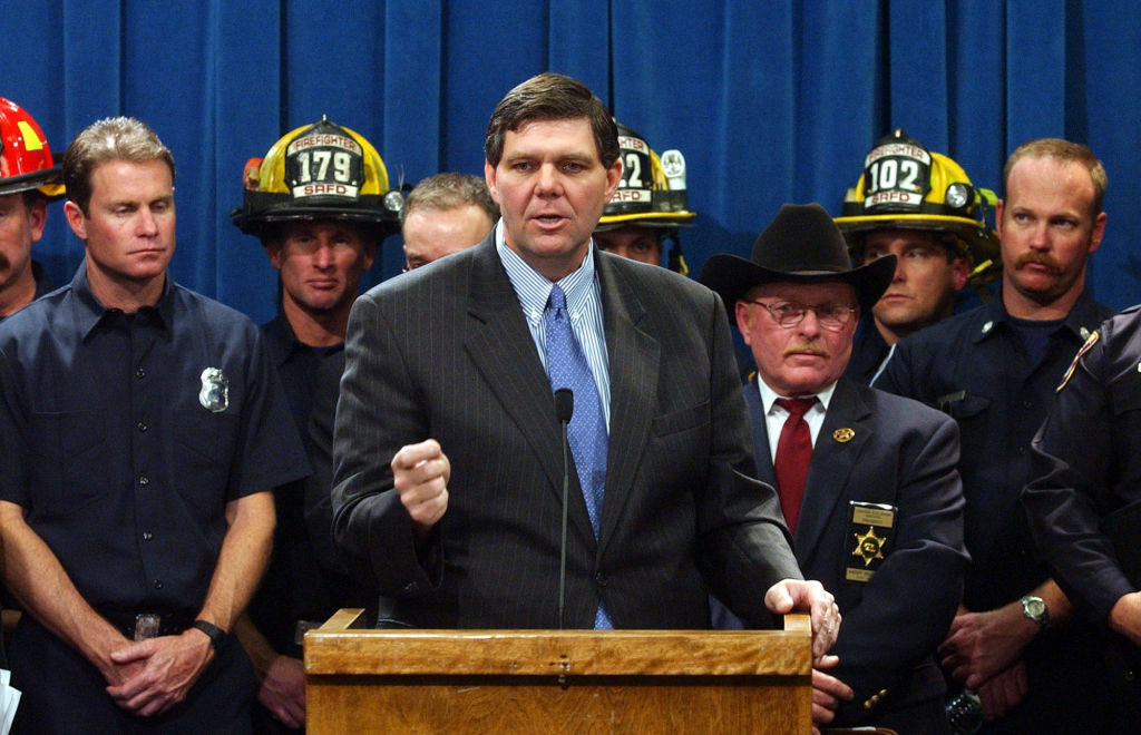 State Senate Minority Leader Jim Brulte, R-Rancho Cucamonga, was joined by dozens of members of various law enforcement and fire agencies calling on lawmakers to approve millions of dollars due local goverments during a Capitol news conference held in Sacramento, Calif., Wednesday, Dec. 10, 2003.
