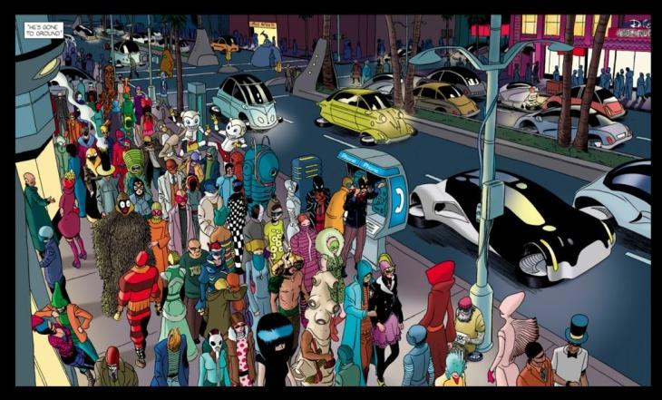 A futuristic MacArthur Park from digital comic book