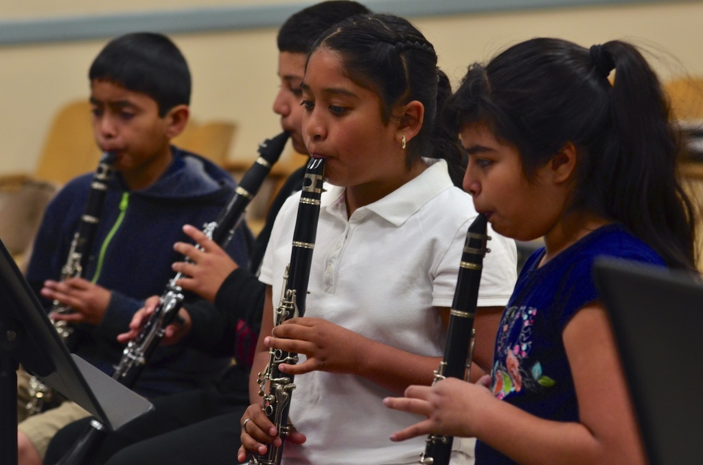 Advanced clarinet students practice at San Fernando Elementary School in Los Angeles Unified School District during the Fall 2013 semester.