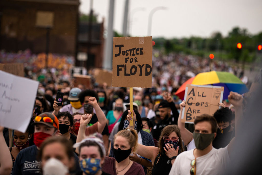 Protesters march on Hiawatha Avenue while decrying the killing of George Floyd on May 26, 2020 in Minneapolis, Minnesota.