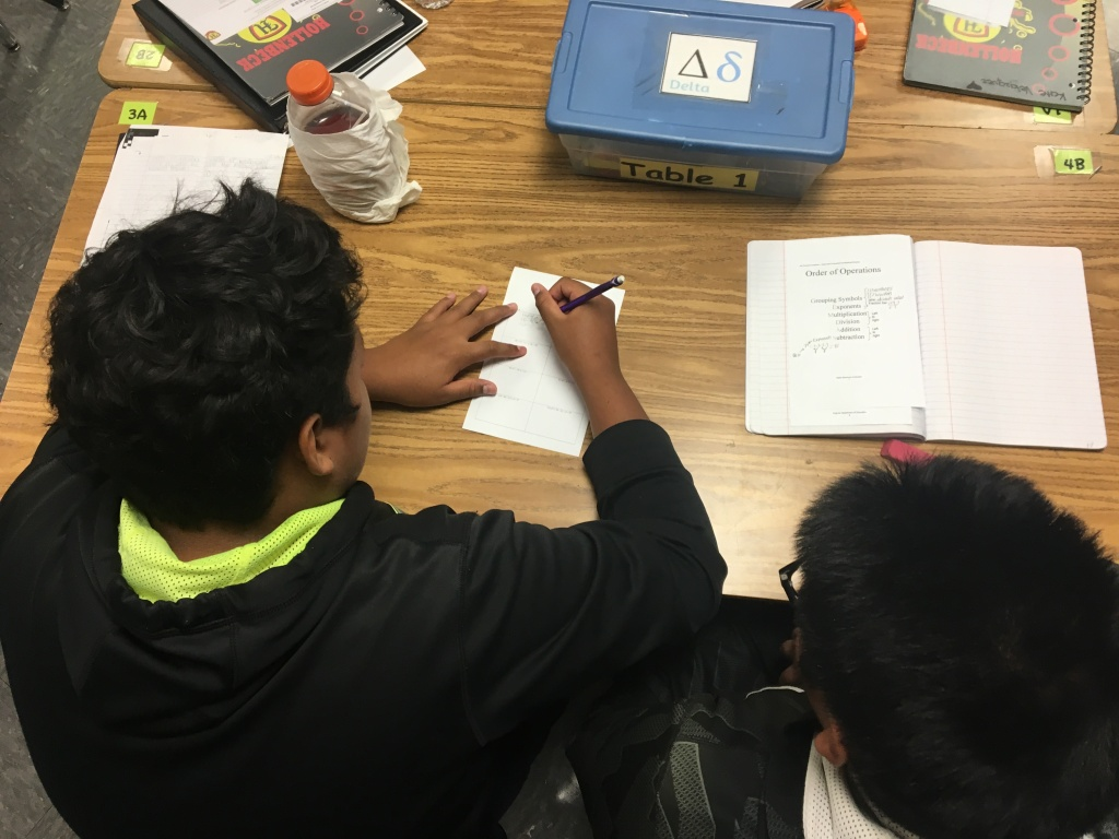 Students at an L.A. Unified middle school work on an assignment.