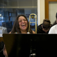 "File: Karina Reyes, left, and Damaris Marquez, right, share a laugh during a lesson offered by Harmony Project, a Los Angeles-based nonprofit that provides free music lessons to low-income students and among 14 ""Art Works"" grant winners in California."