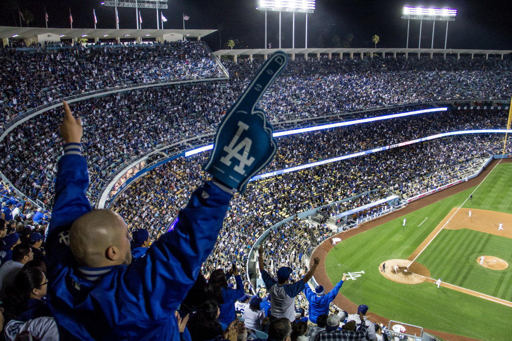 A Dodgers fan cheers during a game against the Philadelphia Phillies on Thursday, April 24, 