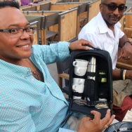 Longtime picknicker Antonio Anderson shows off his coffee cooler on Wednesday, August 5 at the Hollywood Bowl.