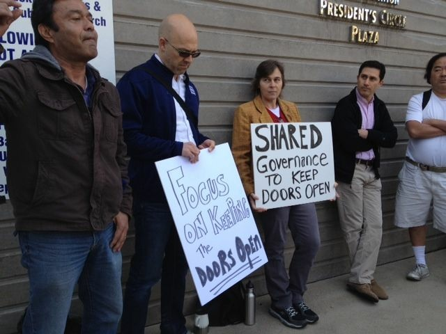 Outside an emergency meeting called by the Santa Monica College Board of Trustees to discuss the two-tier pricing plan. These demonstrators say they support the decision to raise tuition on some courses, saying it's the only way to keep the doors open. A few days earlier, Protests against the plan ended in scuffles with police, including some protesters being pepper sprayed. April 6, 2012.