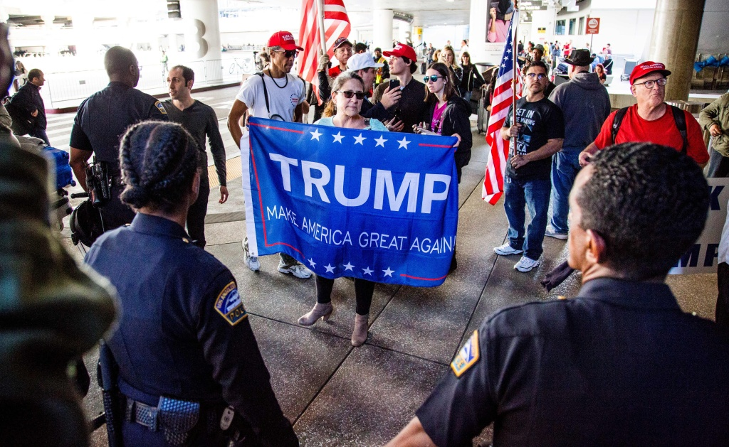 File: Demonstrators for and against President Donald Trump clash in Southern California.