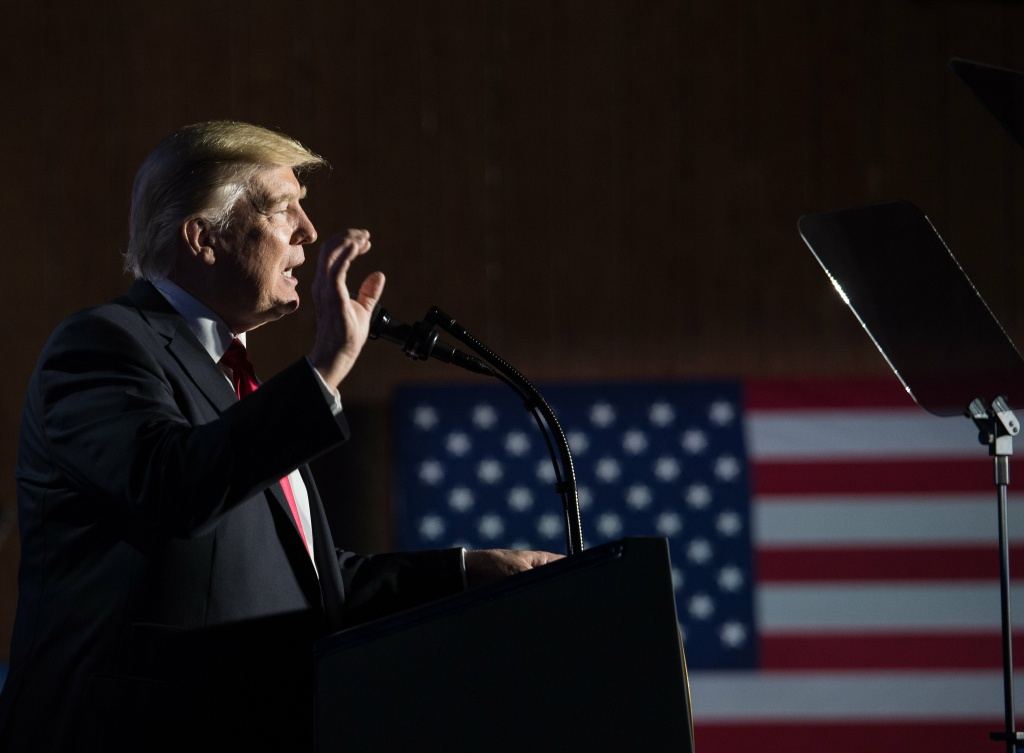 US President Donald Trump speaks to the staff at the Department of Homeland Security in Washington, DC, on January 25, 2017.