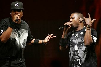 Musicians Jay-Z (L) and Kanye West perform during the 'Watch The Throne' tour.