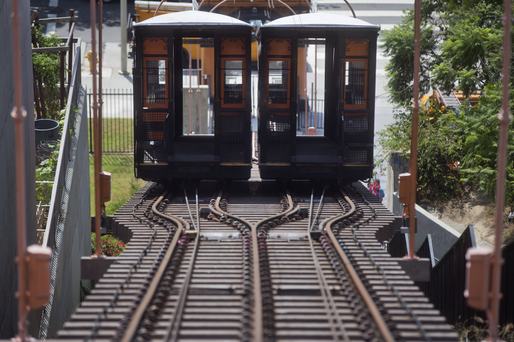 The Angels Flight railway in downtown Los Angeles has been closed on and off in recent years but is scheduled to reopen on Labor Day weekend after safety improvements.