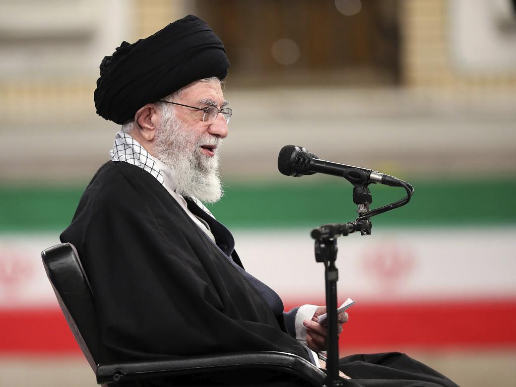 Ayatollah Ali Khamenei, Iran's supreme leader, speaks during a meeting with military commanders in Tehran on Sunday.