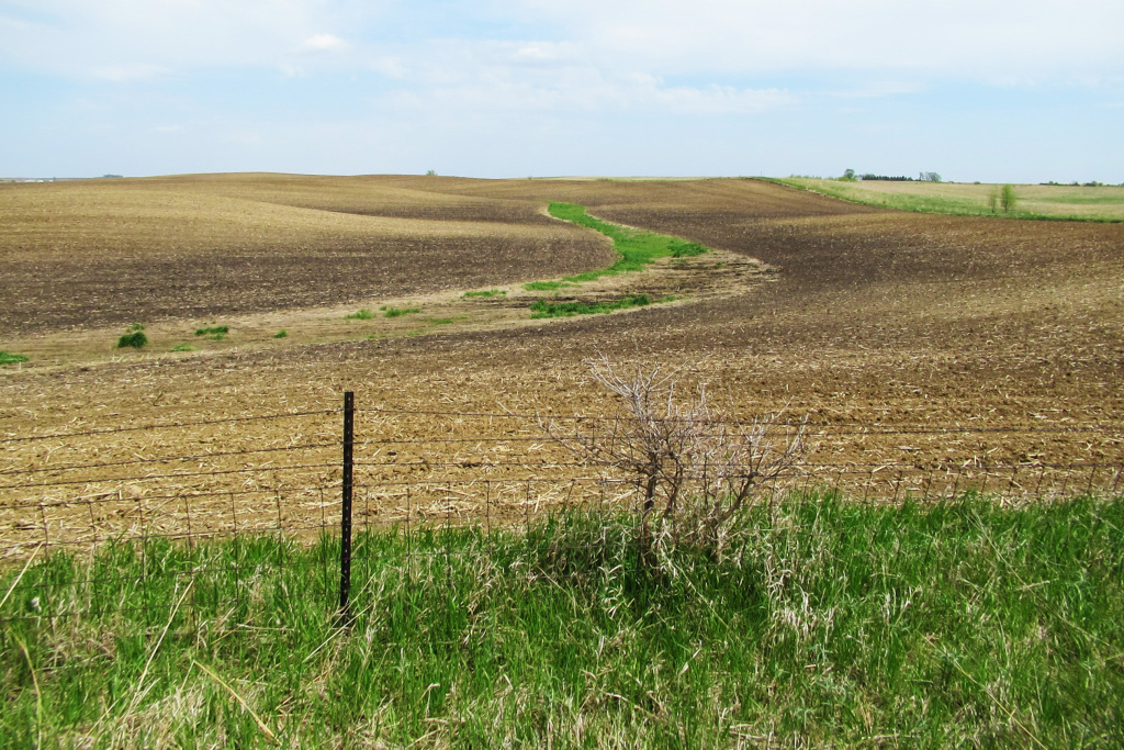 Soil on hilltops in this photo is lighter in color, revealing a loss of fertile topsoil.