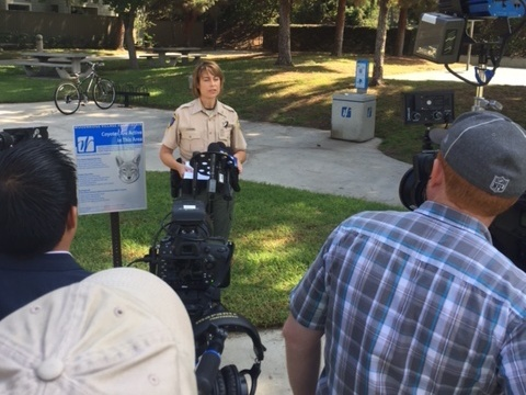 State Fish and Wildlife Capt. Rebecca Hartman speaks to reporters about a coyote attack at Springbrook Park in Irvine.