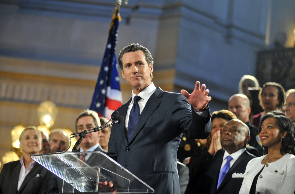 File: Gavin Newsom delivers a speech inside City Hall in San Francisco, after the U.S. Supreme Court made their ruling on gay marriage on June 26, 2013.