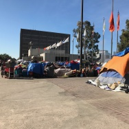 A homeless encampment located around the Santa Ana Civic Center in Orange County.