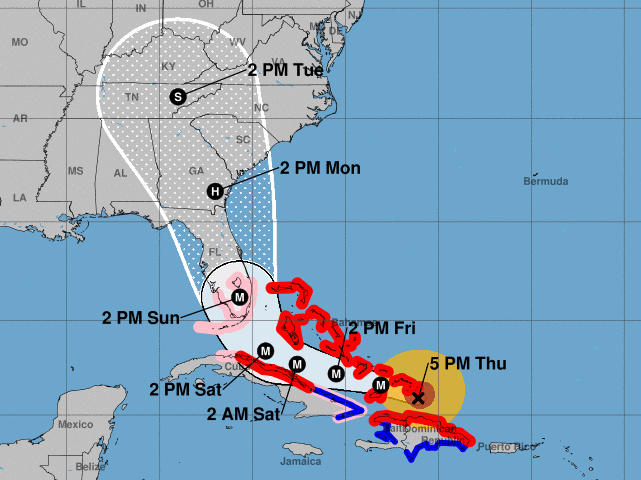 The five-day path prediction for Hurricane Irma includes a northern turn close to the coast of Florida.