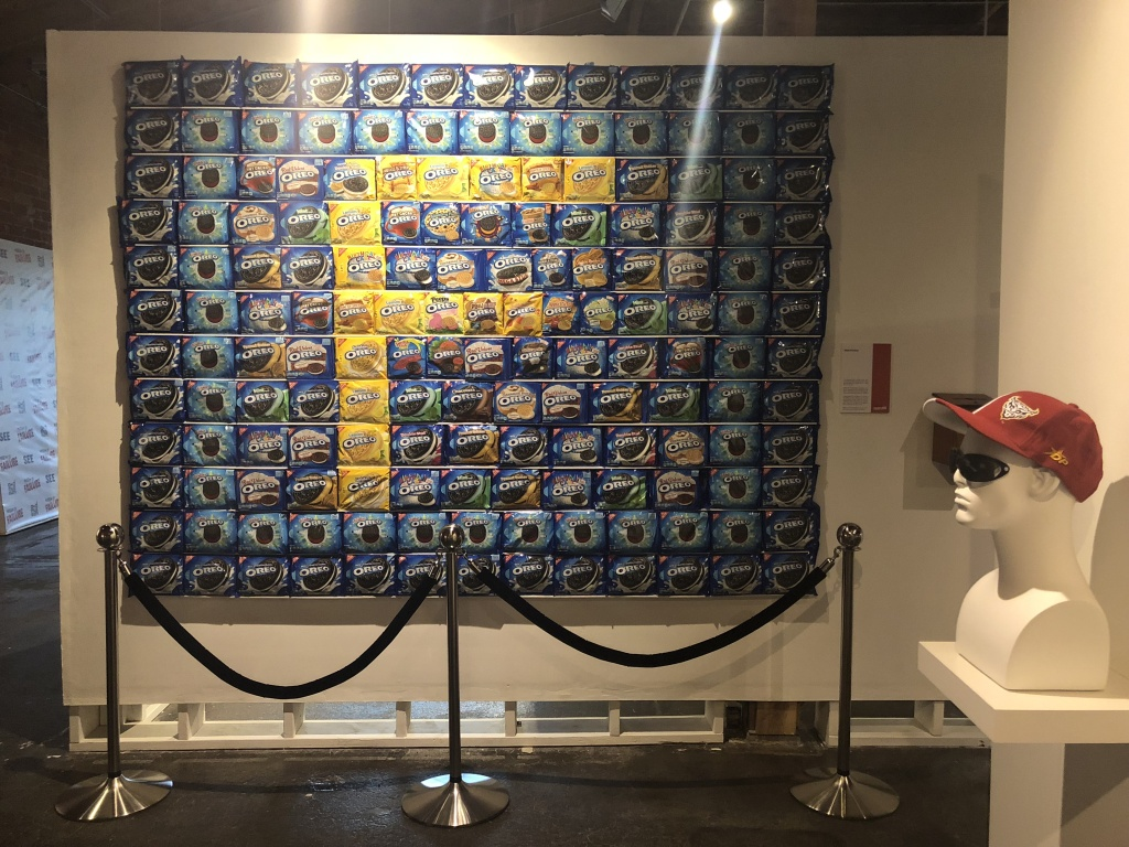 The wall of oreos includes oreos with flavors like pumpkin spice and Swedish fish.