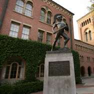 A statue of the school mascot, the Trojan, stands on the campus of the University of Southern California (USC) on March 6, 2007 in Los Angeles, California.