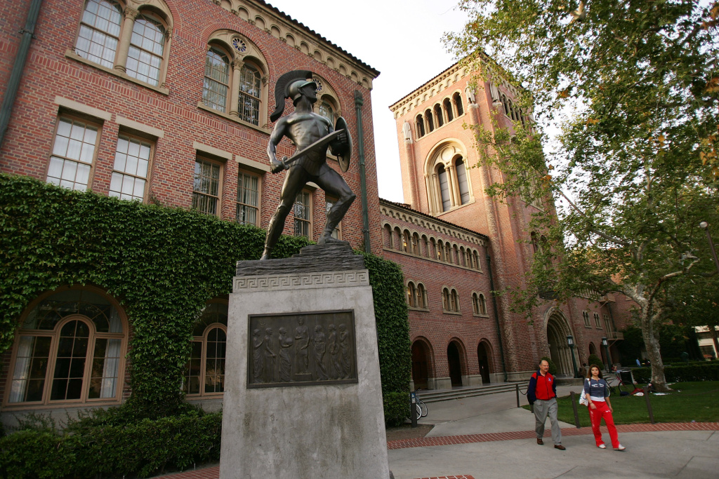A statue of the school mascot, the Trojan, stands on the campus of the University of Southern California (USC) on March 6, 2007 in Los Angeles.
