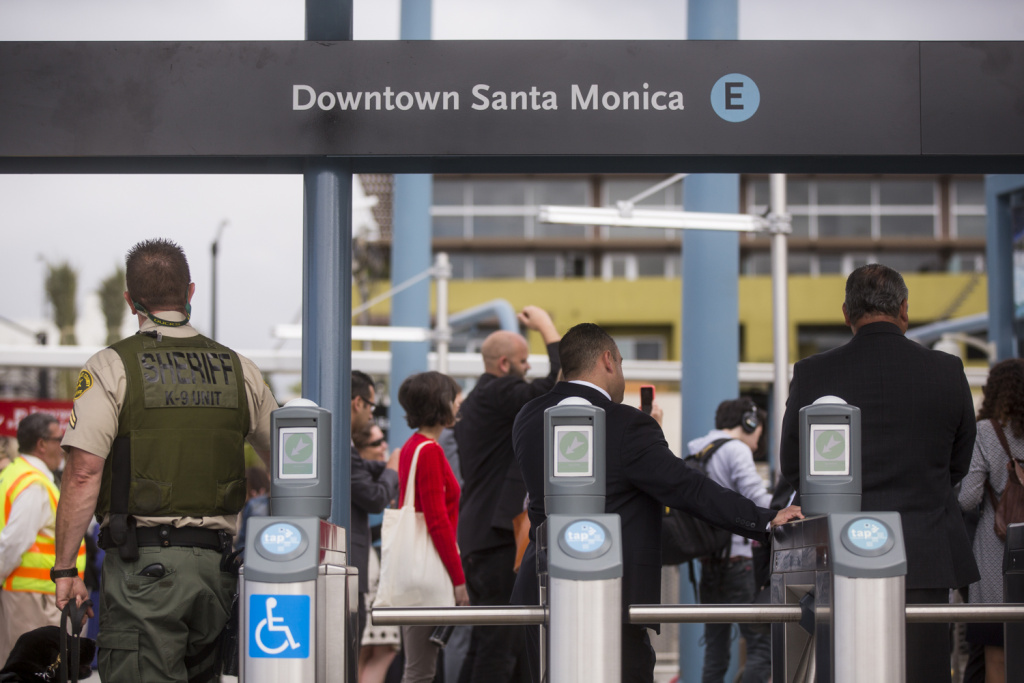 FILE: Members of the Metro board of directors take an early ride from the Culver City to downtown Santa Monica on the new Expo Line extension on Monday morning, May 9, 2016. The line opened to the public on May 20.
