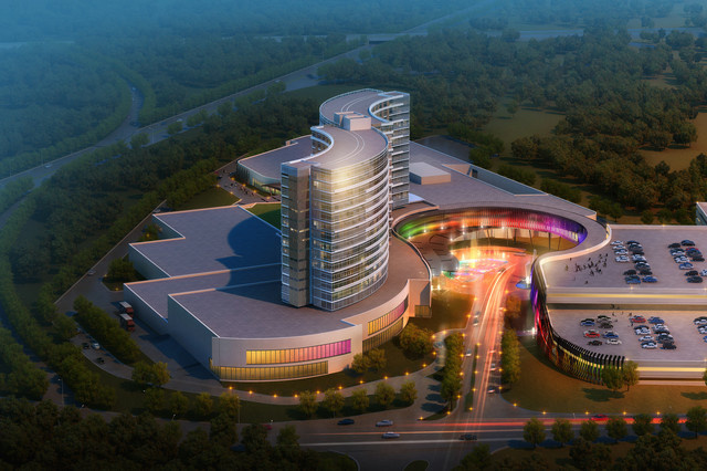 An architectural rendering of a new design for a resort casino that the Mashpee Wampanoag tribe hopes to build in Taunton, Mass.