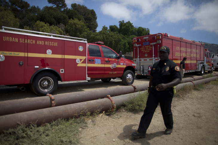 Search and rescue crews scour the waters south of Abalone Cove Shoreline Park in Rancho Palos Verdes Thursday where Joseph Sanchez may have drowned after jumping into the water from a popular cliff-jumping site.