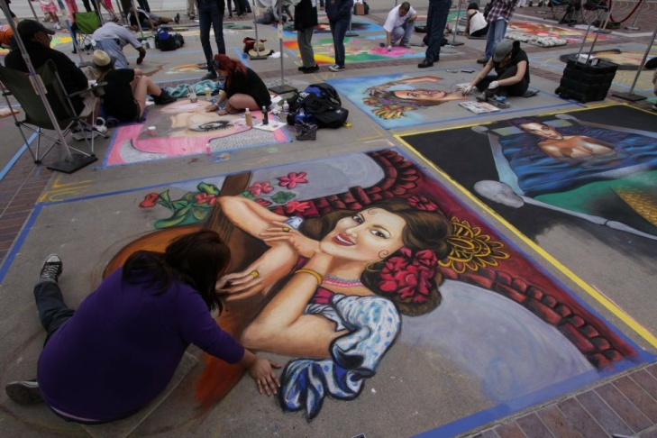 With approximately 600 participating visual artists from all over Southern California, The Pasadena Chalk Festival has grown to become the largest street painting festival in the world