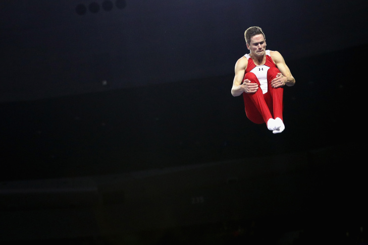 Logan Dooley reacts after competing on the trampoline during 2016 USA Gymnastics Championships - Day 3 on June 12, 2016 in Providence, Rhode Island.