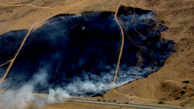 A brush fire was burning in the Palmdale area on Tuesday afternoon.