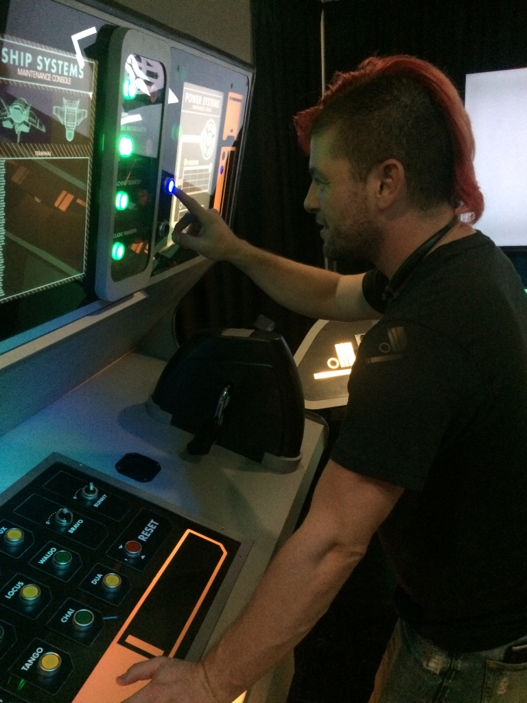 Eric Gradman plays in a room-sized game that looks a lot like the bridge of the Star Trek Enterprise. This immersive team game makes players part of live-action adventures where they actually become the character.