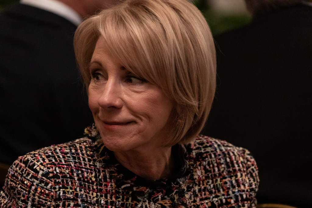 U.S. Secretary of Education Betsy DeVos attends an event at the White House.