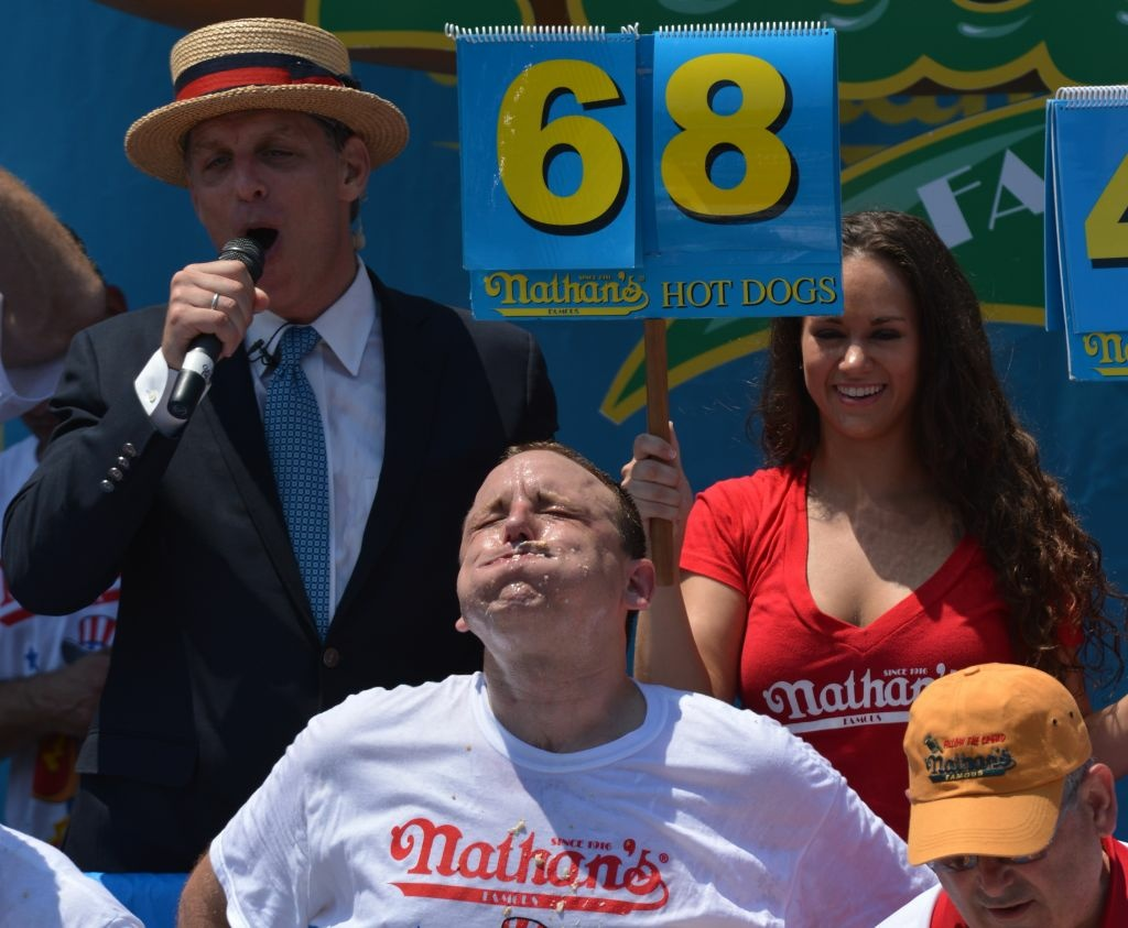 """Joey Chesnut –a.k.a. """"Jaws"""" – scarfed down 68 hot dogs and buns to win Wednesday in Brooklyn. He takes home $10,000 and a mustard-yellow champion's belt."""