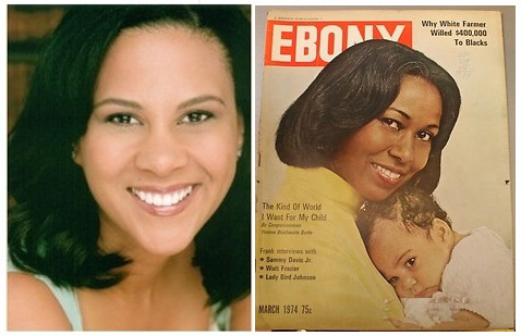 Left: Autumn Burke as she appears in 2013. Right: Autumn Burke appeared in her mother's arms, then-Congresswoman Yvonne Burke, in a 1974 issue of Ebony magazine.
