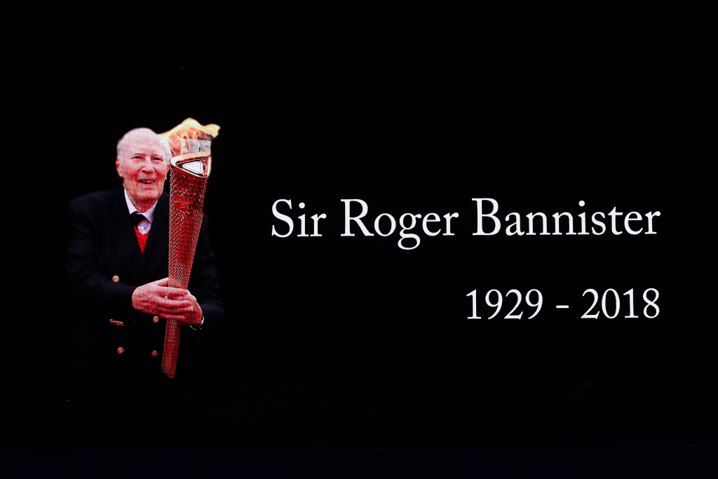 A tribute to Sir Roger Bannister during the IAAF World Indoor Championships on Day Four at Arena Birmingham on March 4, 2018 in Birmingham, England.