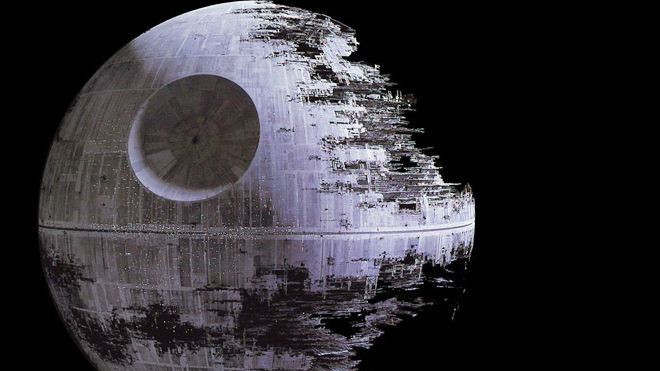 "The Death Star, a planet-sized weapon built by Darth Vader and the Empire in George Lucas's science fiction series ""Star Wars."""